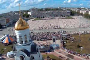 Видео с квадрокоптера на фестивале колокольного звона в Каменске-Уральском