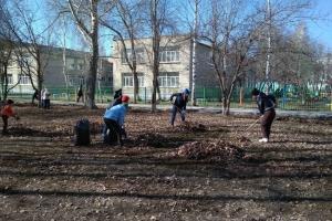 Сотрудники администрации Каменска-Уральского вчера вышли на субботник